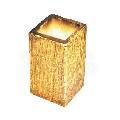 Vaso Quadrado Pequeno Textura Madeira Natural L1033