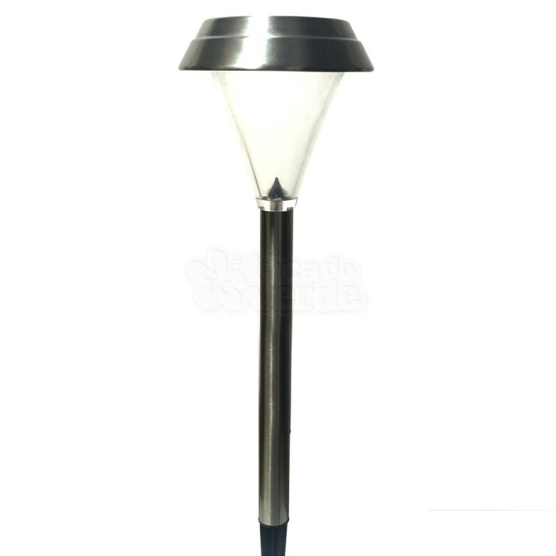 Luminária Solar Inox SuperLED 25x Mais Forte - 25 Lúmens - 17004 - Ecoforce