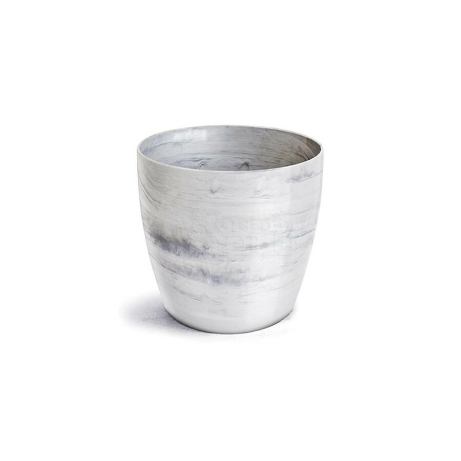 Cachepô Redondo Elegance N05 - 12 Litros - Cor Branco Carrara