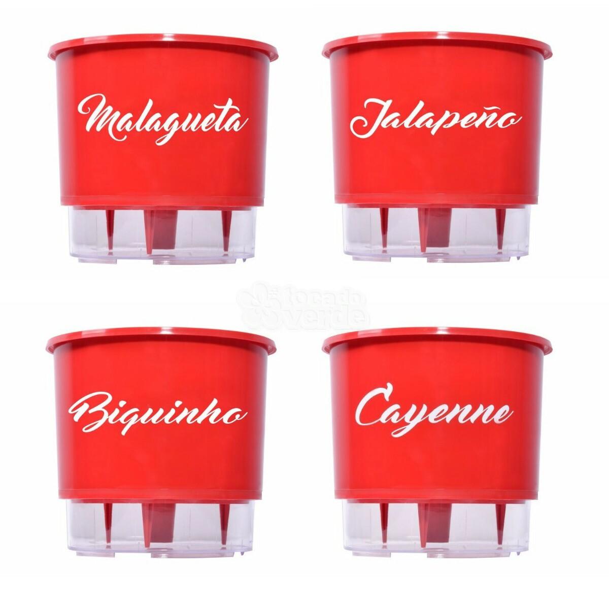 Linha Pimentas - Vasos Autoirrigáveis Médio T3 - Vermelho