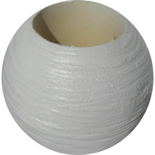 Vaso Bola Pequeno Textura Madeira Branco L1037