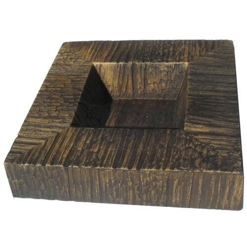 Vaso Baixo Quadrado P Textura Madeira Tabaco L1079