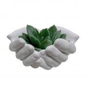 Cachepô Hands Opened em Cerâmica - Grande - 10x16 cm - Cor Branco - 40402