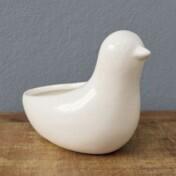 Cachepô Animals em Cerâmica - Bird - 10,9x14 cm - Cor Branco - 41013