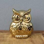 Coruja Decorativa em Cerâmica - 14x12 cm - Cor Dourada - 40526