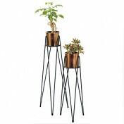 Set 2 Vasos e Suportes de Chão - Geo Forms - Cor Cobre - 40079