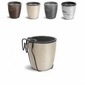 Kit Vaso Autoirrigável Elegance N03,5 - 15,9 alt x 15,4 diâm - 1,6 Litros - Cores Marmorizadas