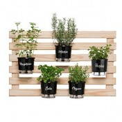 Kit Horta Vertical Temperos Larga 60x100 cm - (5 vasos T3 + 5 Argolas + 1 treliça)