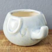 Mini Cachepô Little Elephant em Cerâmica - 7x12cm - Cor Azul - 41060