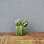 Mini Cactus Clustered Decorativo em Cerâmica - 5,0x4,5 cm - Cor Verde - 41175