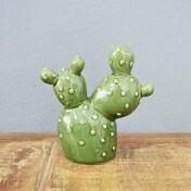 Cactus Pryckly Pear Decorativo em Cerâmica - 12x11,2 cm - Cor Verde - 41174