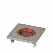 Suporte Quadrado 30 cm para Vasos em Polietileno Com Rodízio - Cor Pedra