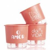 Trio Vasos O Amor é o Tempero da Vida - Autoirrigável T2 12x11 - Cor Coral