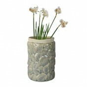 Vaso Embossed Leaves Thin Edge em Cerâmica - 18x11 cm - Cor Verde - 41057