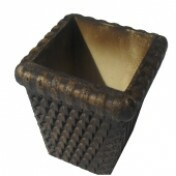 Vaso Rattan Quadrado Pequeno Tabaco L1074