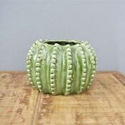 Vaso Barrel Cactus em Cerâmica - 12x18 cm - Cor Verde - 40395