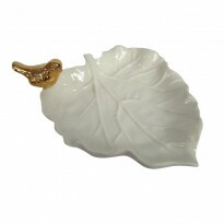 Prato Decorativo Autumn Leaf Gold Bird