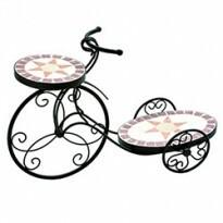 Bicicleta Floreira em Ferro - 2 bases estilo mosaico 58x19x39 cm- HC0022A
