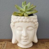 Cachepô Budhas Head em Cerâmica - 12,5x11 cm - Cor Branco - 41014
