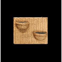 Painel de Parede Horizontal com 2 Vasos de Parede Mini Veneza - N52 - Cor Envelhecida