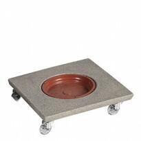 Suporte Quadrado 35 cm para Vasos em Polietileno Com Rodízio - Cor Pedra