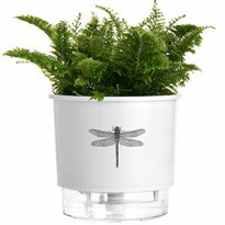 Vaso Autoirrigável Pequeno N02 12x11cm Branco Libélula- Jardim de Insetos