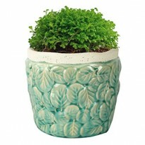 Vaso Embossed Leaves Thin Edge em Cerâmica - Pequeno - 15x17cm - Cor Verde - 41056