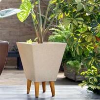 Vaso decorativo com pés em madeira