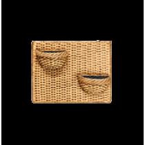 Painel de Parede Horizontal com 2 Vasos de Parede Mini Veneza - Cor Envelhecida