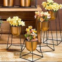 Set 4 Vasos e Suportes - Geo Forms - Cor Cobre - 40076