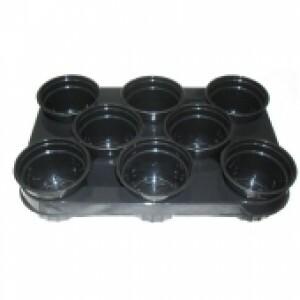 Kit - 10 Bandejas Porta Vasos com 80 Vasos - Preto
