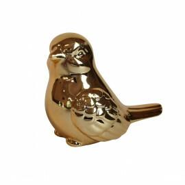 Passarinho Decorativo Lovely Bird em Cerâmica - M 6x8 cm - Cor Dourado - 41157