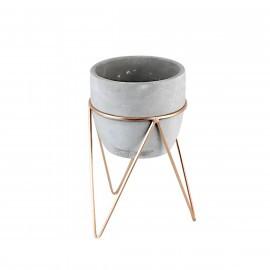 Cachepô Cimento com Suporte Triangle em Metal - Standing - Grande - 23,2x14,6 cm - 41307