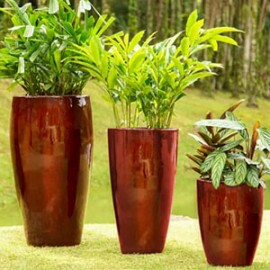 Conjunto 3 Vasos Cônicos PPA - Pintura em Alto Brilho - Cores