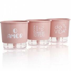 Trio Vasos O Amor é o Tempero da Vida - Autoirrigável T2 12x11 - Cor Rosa