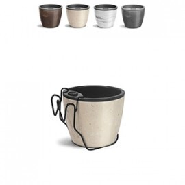 Kit Vaso Autoirrigável Elegance N03 - 12,5 alt x 15,4 diâm - 1,6 Litros - Cores Marmorizadas