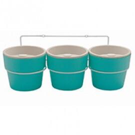 Kit Trio Vaso Autoirrigável Médio com Suporte de Parede Linha Plantar - Cor Azul