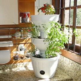 Mini Horta Vertical Auto Irrigável - Verde Vida - Cor Branca