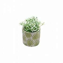Vaso Embossed Green Leaves em Cerâmica - Pequeno - 6,5x7 cm - 41077