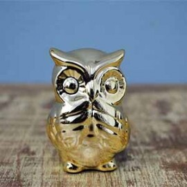 Mini Coruja Decorativa em Cerâmica - 6,4x4,8 cm - Cor Dourada - 40212
