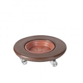 Suporte Redondo 30 cm para Vasos em Polietileno Com Rodízio - Cor Ferrugem