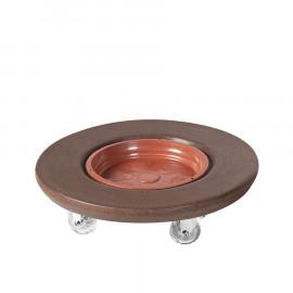 Suporte Redondo 35 cm para Vasos em Polietileno Com Rodízio - Cor Ferrugem