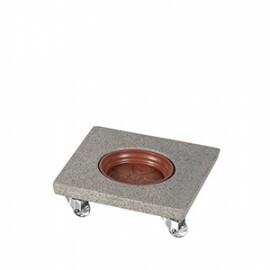 Suporte Quadrado 25 cm para Vasos em Polietileno Com Rodízio - Cor Pedra