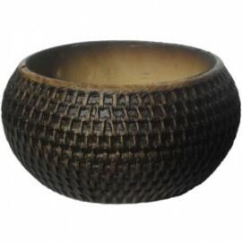 Vaso Rattan Arredondado T3 - Tabaco - L1076