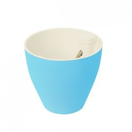 Vaso Autoirrigável 16x17 cm - Fosco - Azul e Branco - Plantiê