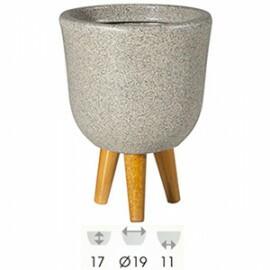 Vaso Retrô A11 DS19 - Com Pés em Madeira - RM002P - Cor Pedra