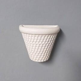 Vaso de Parede Rattan T1 - 13 alt x 9,5 x 15,5 cm - L1107 - Cor Branco