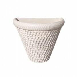 Vaso de Parede Rattan T2 - 17,5  alt x 14 x 22 cm - L1107 - Cor Branco