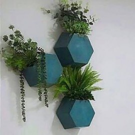 Vaso de parede Colmeia 25x29,5 cm  para Jardim Vertical - Cor Antique Azul