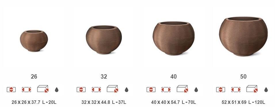 Medidas vaso  redondo ondulado